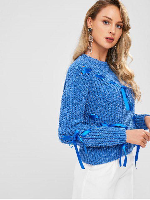 unique Chunky Lace Up Sweater - CORNFLOWER BLUE ONE SIZE Mobile