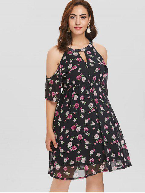 Cold Shoulder Blumen Plus Size Kleid - Schwarz 3X Mobile