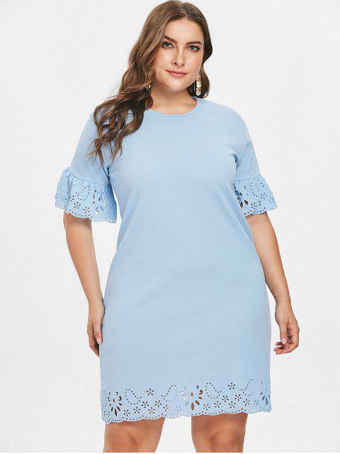 Rüschenärmel Laser Cut Plus Size Kleid - Helles Blau 1X Mobile