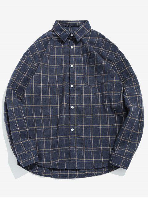 Camisa de cuadros de bolsillo casual - Marrón Oscuro M Mobile