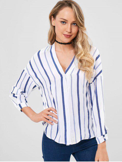 Camisa a rayas con hombros caídos - Multicolor Talla única Mobile