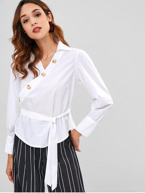 Diagonale Knöpfe gewebte Bluse - Weiß L Mobile
