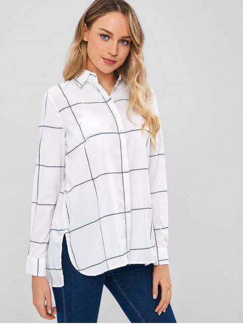 Windowpane Print entspanntes Hemd - Weiß L Mobile