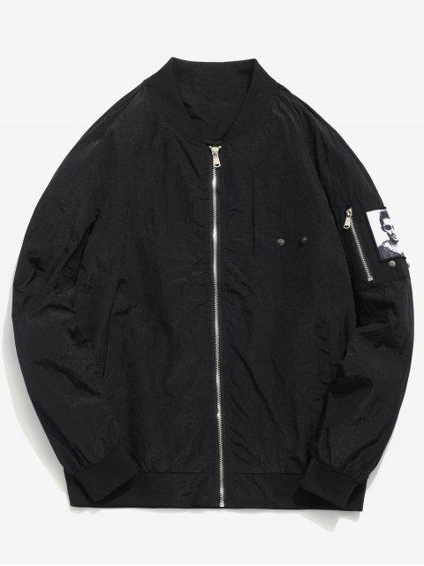 Pockets Patch Waterproof Bomber Jacket - Negro XS Mobile