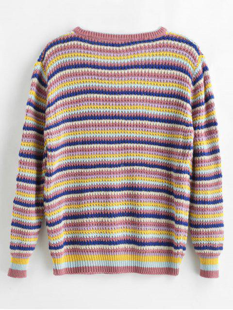 Gestreifter Farbige Pullover mit V Ausschnitt - Multi Eine Größe Mobile