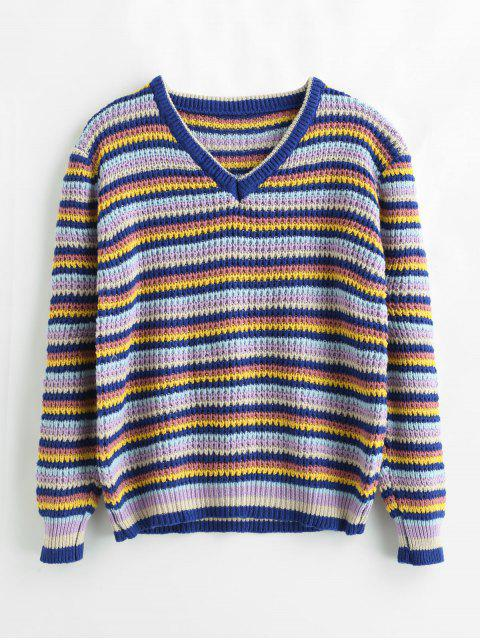 trendy Loose Color Block Striped Sweater - MULTI ONE SIZE Mobile