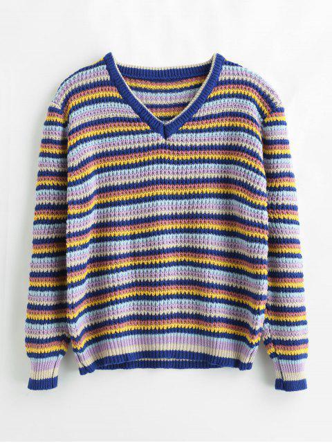 Suéter a rayas de bloque de color suelto - Multicolor Talla única Mobile