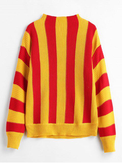 Two Tone Streifen Trichter Pullover - Multi Eine Größe Mobile