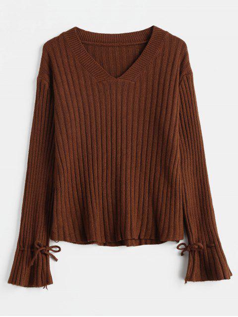 Gerippter V-Ausschnitt Bell Cuff Sweater - Sepia Eine Größe Mobile