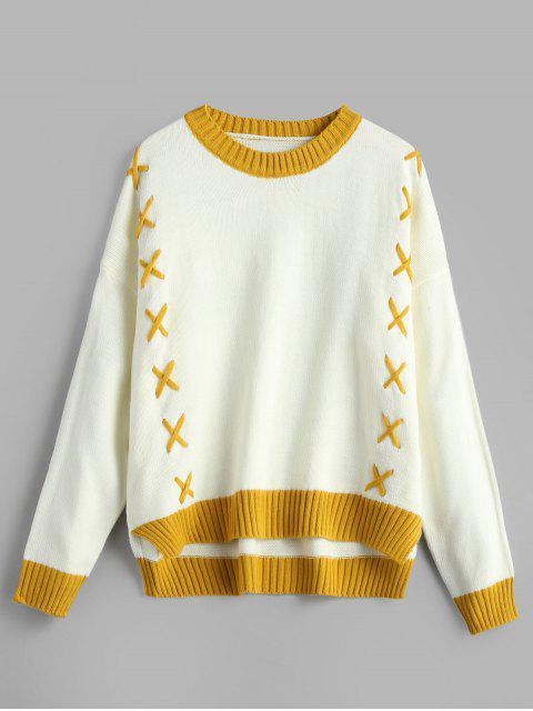 Suéter de dos tonos de encaje con cordones - Blanco Talla única Mobile