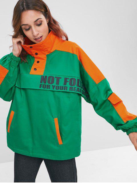 Farbblock Brief Druck Pocket Insert Jacke - Grün Eine Größe Mobile