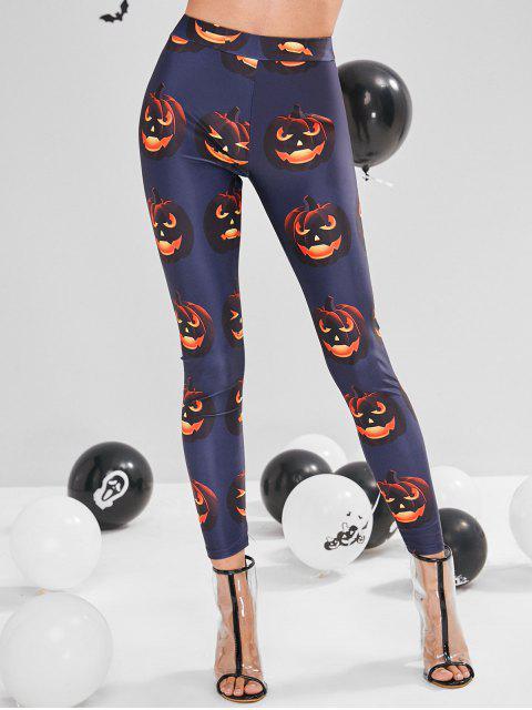 ZAFUL Legging d'Halloween Lanterne Cotrouille à Taille Haute - Bleu de Minuit M Mobile