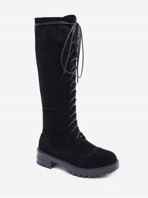 unique Chunky Heel Platform Knee High Boots - BLACK EU 37 Mobile