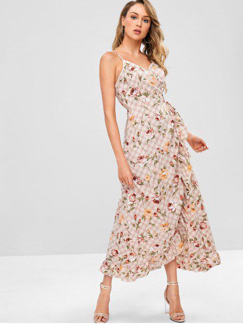 ZAFUL Robe Enveloppée Fleur à Carreaux à Volants - Rose Léger  XL Mobile
