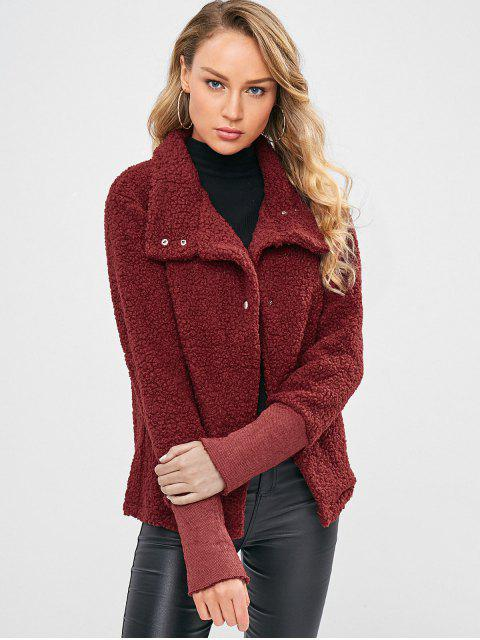 Druckknopf Faux Shearling Short Coat - Roter Wein XL Mobile