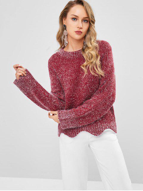 Suéter festoneado con hilo plateado - Marrón Talla única Mobile