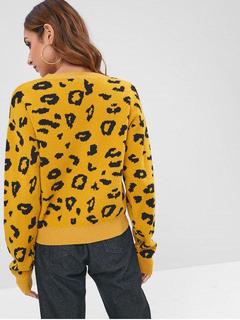 Pull Graphique Abstrait Contrasté - Brun Doré Taille Unique Mobile