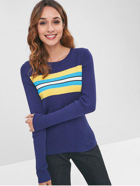 women's ZAFUL Stripes Panel Ribbed Sweater - DEEP BLUE S Mobile