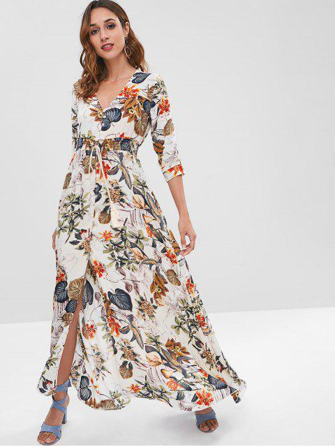best ZAFUL Printed Maxi Button Through Dress - MULTI M Mobile