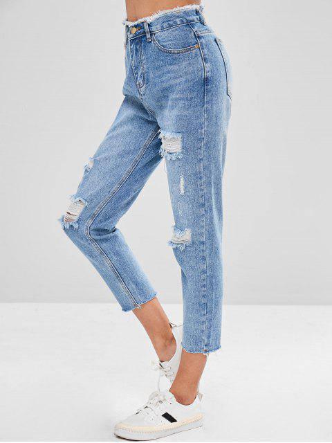 Jeans rotos desgastados de mamá - Azul Denim L Mobile