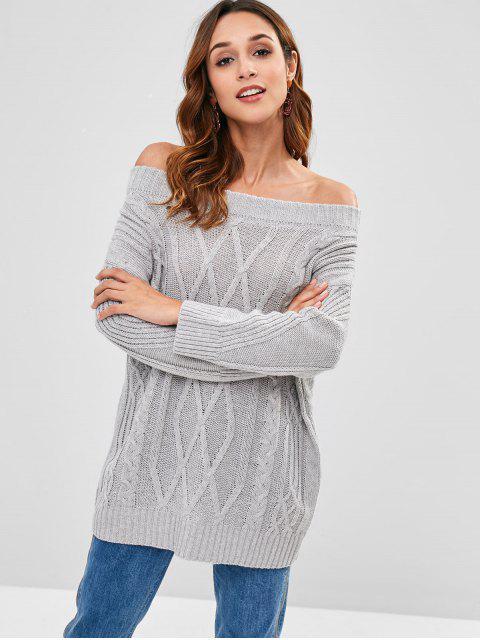 Aus der Schulter Cable Knit Sweater - Grau Eine Größe Mobile