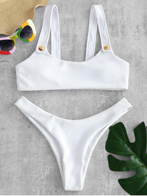 Conjunto de bikini de tirantes acanalados con tirantes - Blanco M Mobile