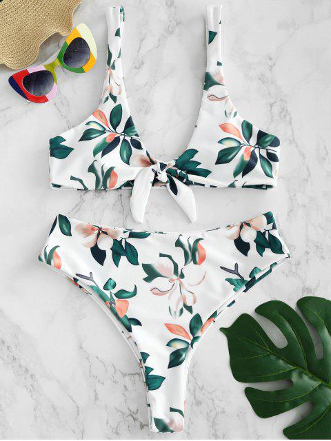 Ensemble de bikini à imprimé feuilles et nœuds ZAFUL - Blanc L Mobile