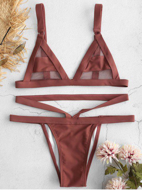 ZAFUL Bikini Bandage En Maille - Rose Brun XL Mobile