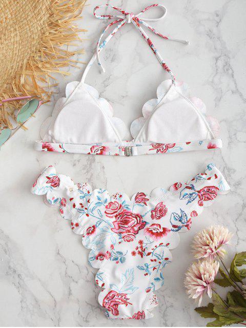 trendy ZAFUL Flower Scalloped Halter Bikini Set - WHITE L Mobile