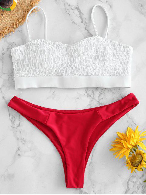 best ZAFUL Smocked Contrast Bikini Set - WHITE L Mobile