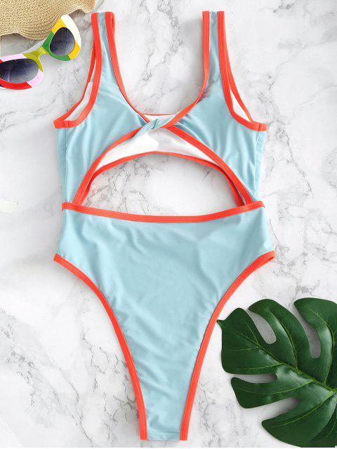 ZAFUL Cutout Twist traje de baño de corte alto - Azul de Robin Huevo L Mobile