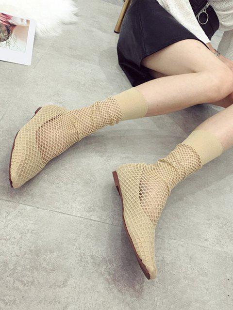 trendy Square Toe Sheer Mid Calf Flat Sock Boots - APRICOT EU 38 Mobile