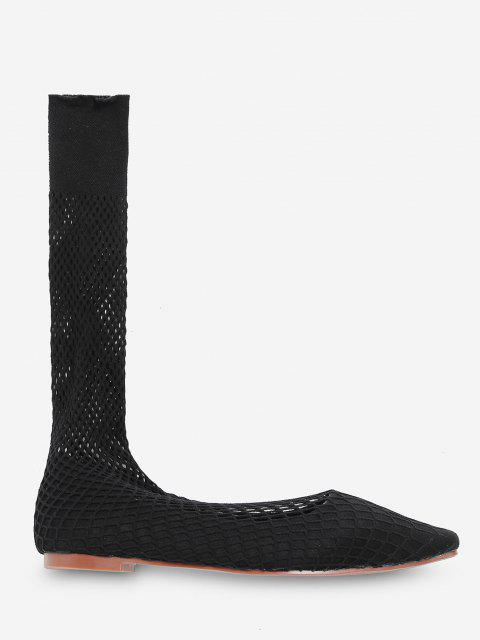 Quadratische Zehe Schiere Flache Socken mit Mittlerem Kalb - Schwarz EU 35 Mobile