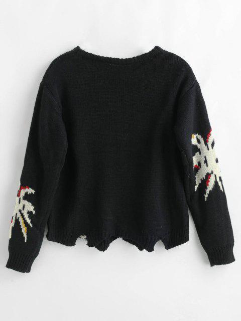 Drop Schulter Buchstaben Pullover - Schwarz Eine Größe Mobile