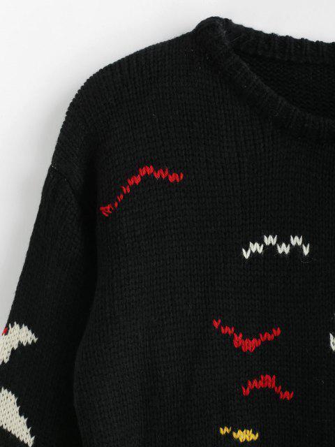 Drop camisola de letras de ombro - Preto Um Tamanho Mobile