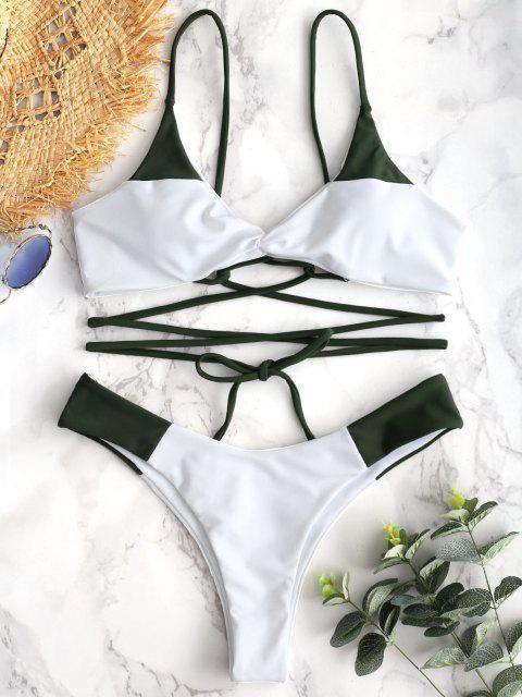 Conjunto de Bikini de Dos Tonos con Cordones de Giro ZAFUL - Verde Marrón Claro S Mobile