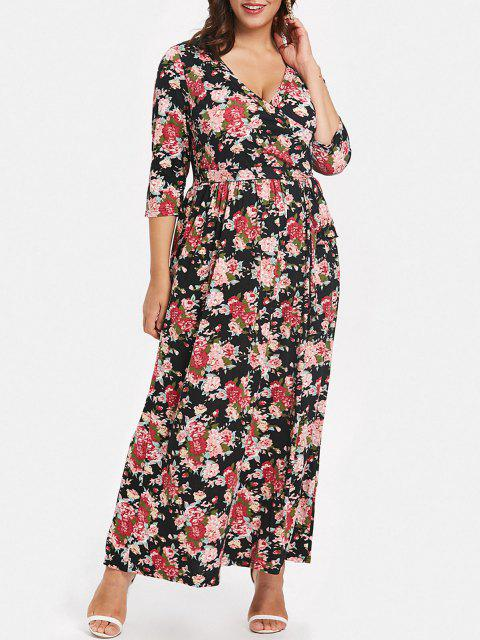 outfits Plus Size Printed Tie Front Maxi Dress - BLACK 5X Mobile