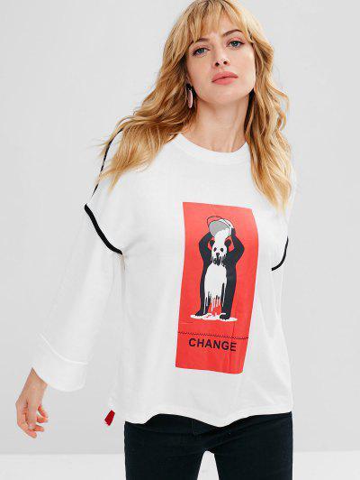 Ribbon Cute Bear Graphic Sweatshirt - White S