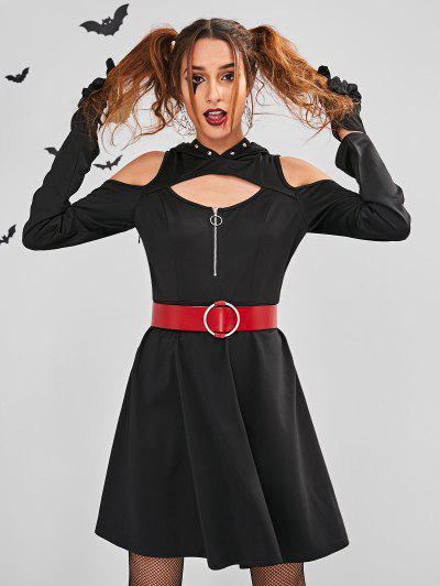ZAFUL Cut Out Halloween Costume Skater Dress - Black M