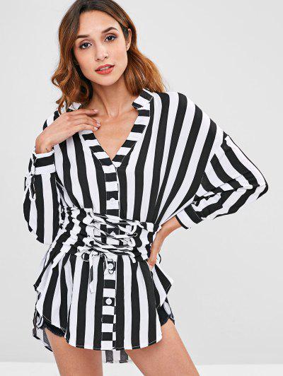 da3720dbbf Striped Oversized Shirt With Corset Belt - Multi