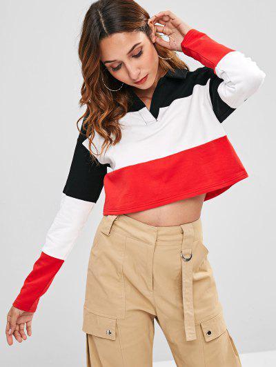 ZAFUL Cropped Color Block Sweatshirt - Multi S