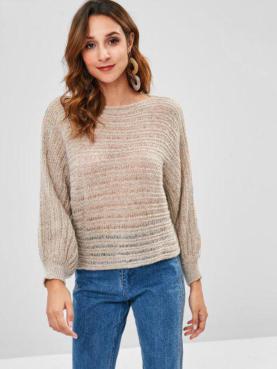 Batwing Loose Knit Sweater - Light Khaki