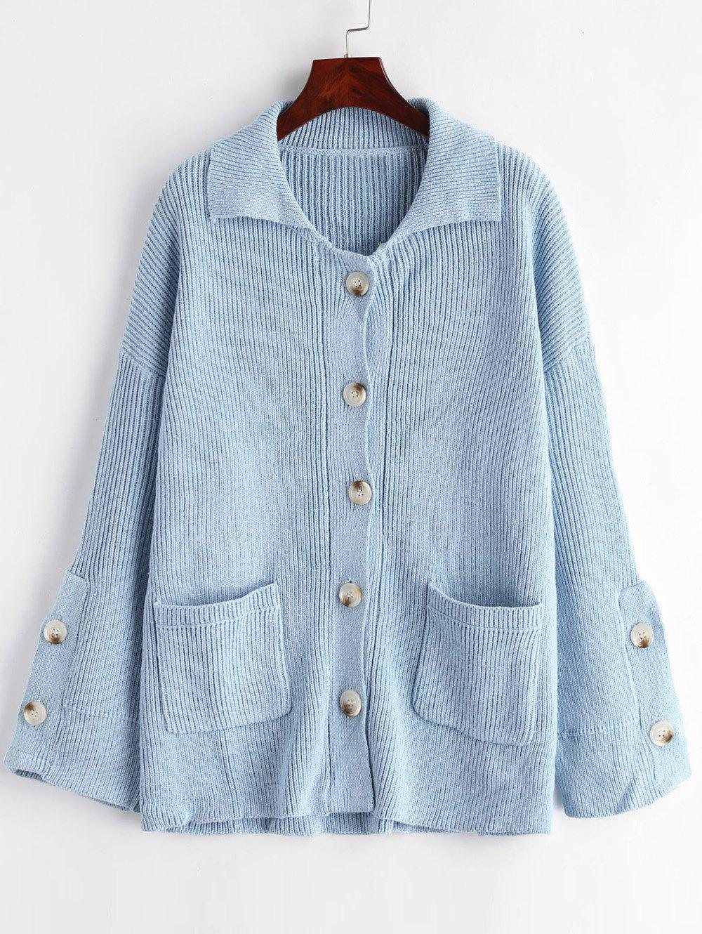 Patched Pockets Button Up Cardigan