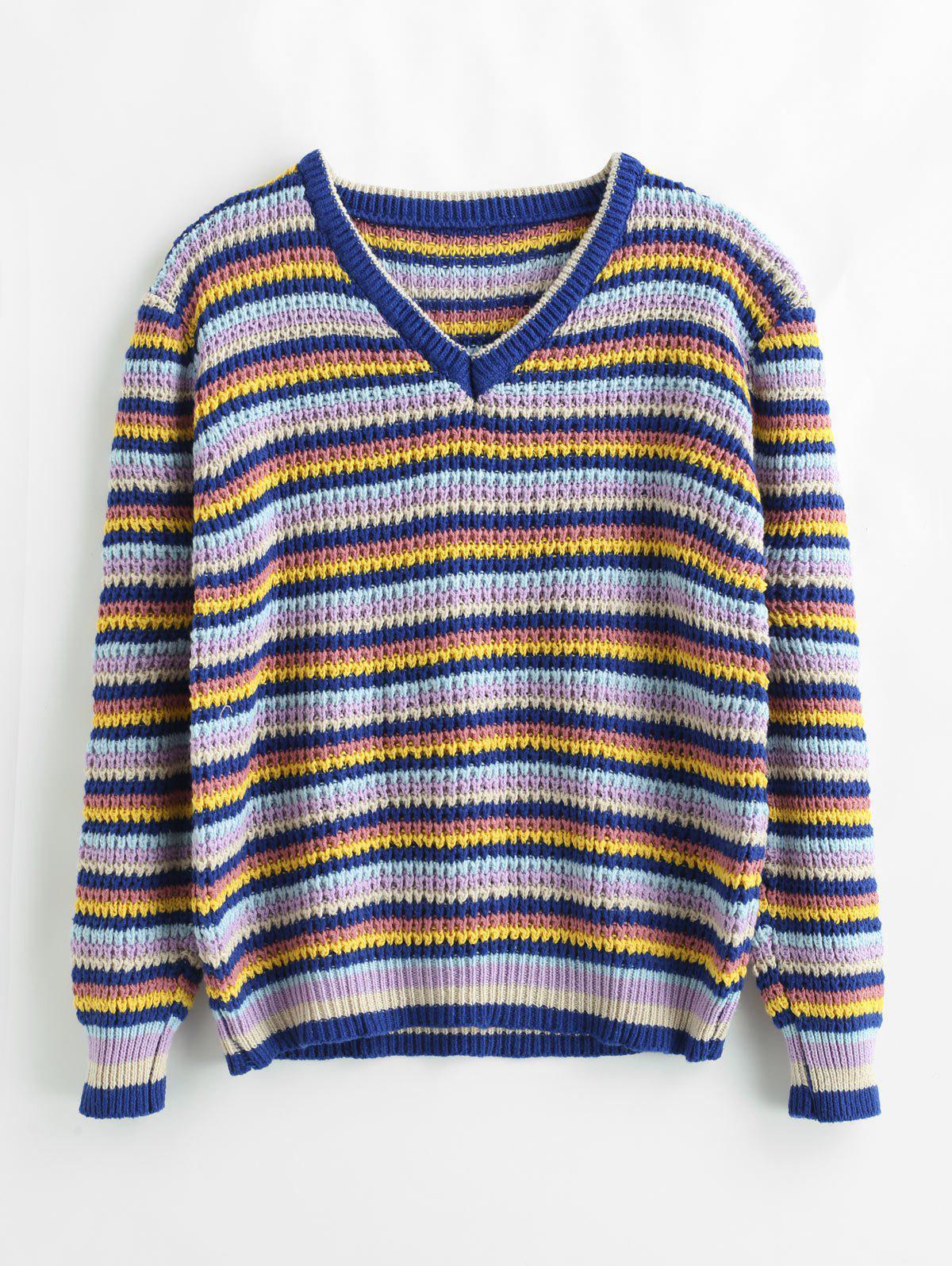 Loose Color Block Striped Sweater