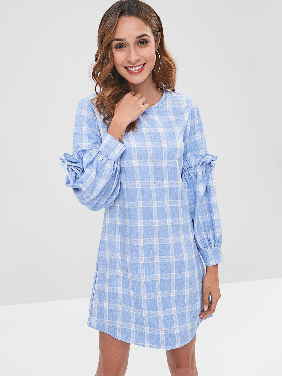 ZAFUL Plaid Lantern Sleeve Mini Dress, Light blue
