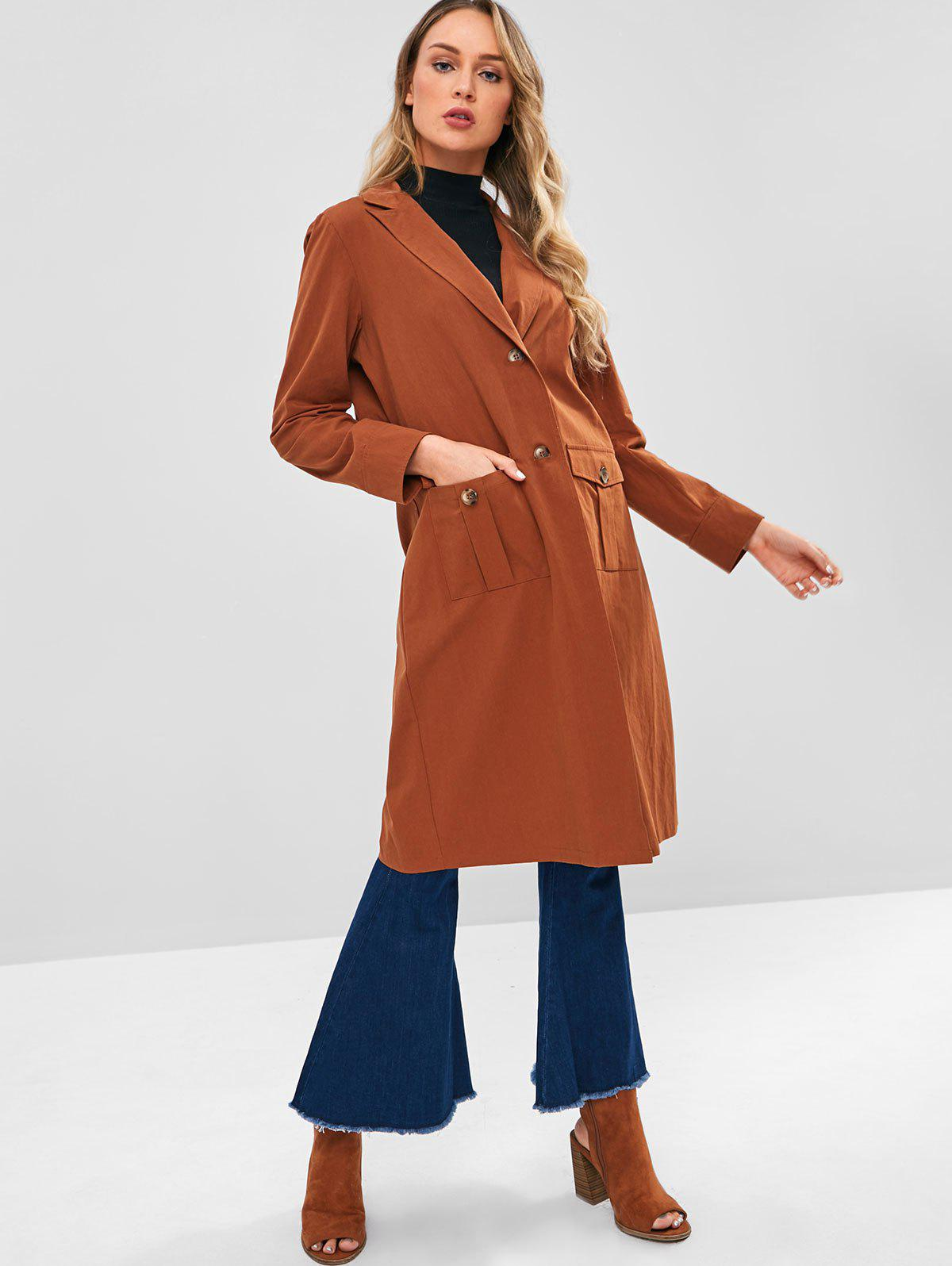 ZAFUL Slit Button Up Trench Coat, Light brown