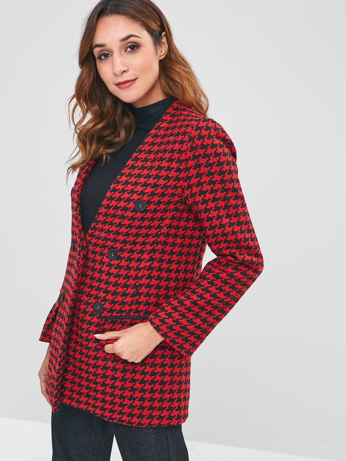 Flap Pockets Houndstooth Tweed Coat