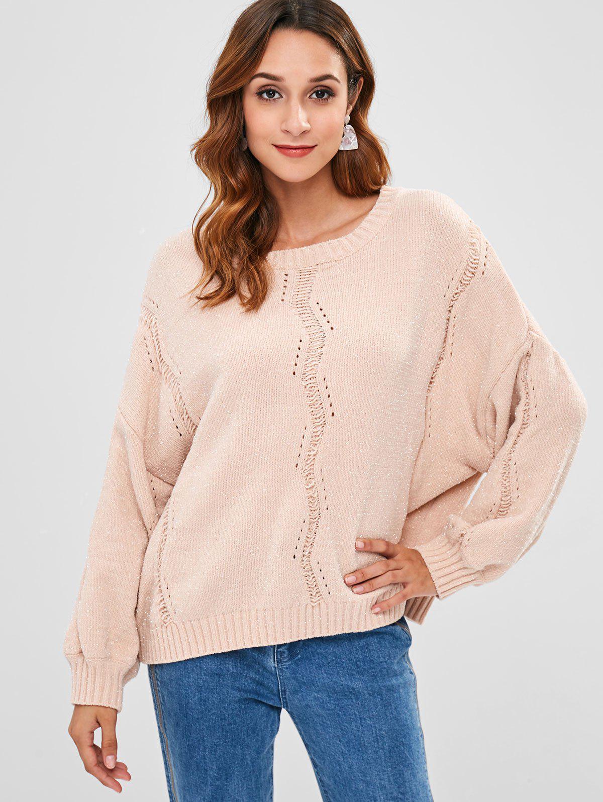 ZAFUL Drop Shoulder Shining Detail Pullover Sweater, Pink