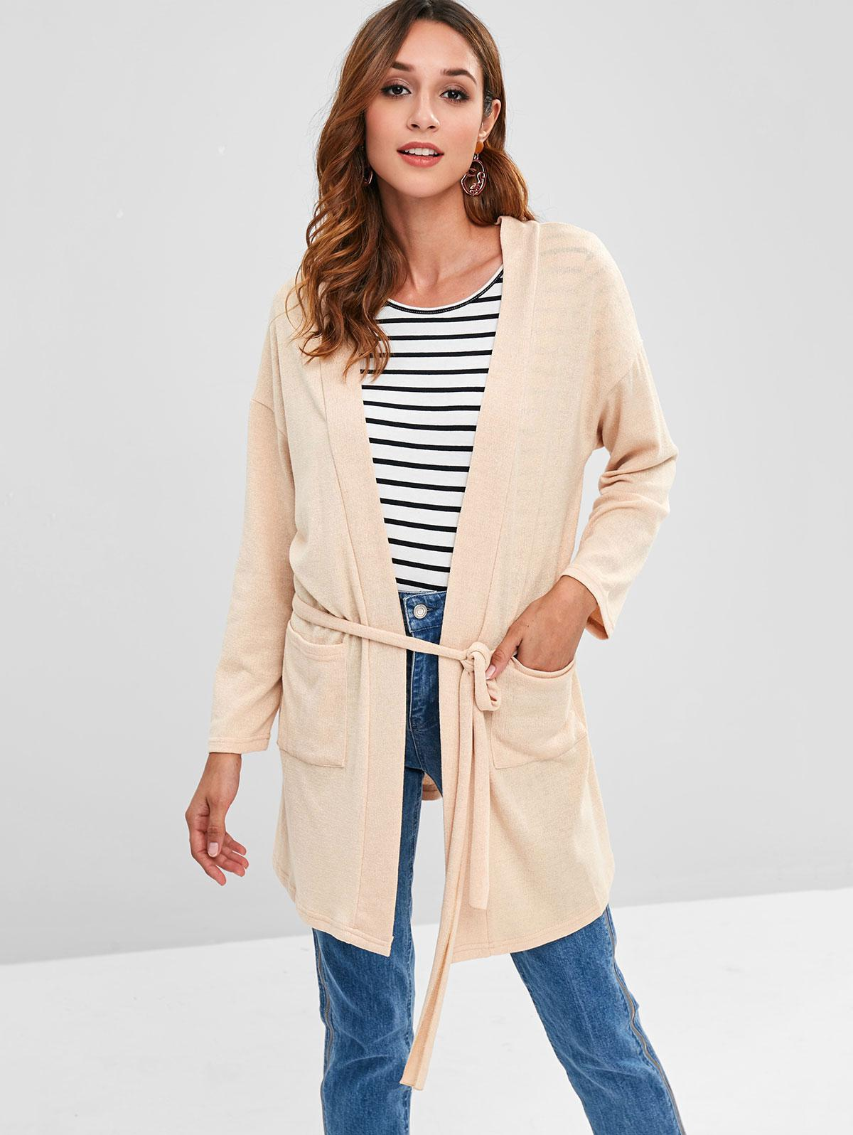 Two Pocket Belted Open Front Cardigan
