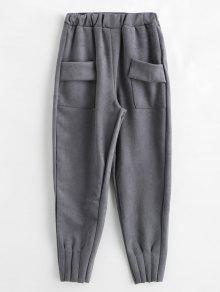 سروال لون خالص مع جيوب - رمادي L